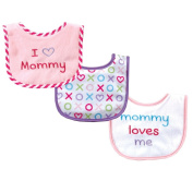 Luvable Friends I Love Mommy and Daddy Baby Bibs Pink Mommy 3-Count
