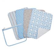 Trend Lab Zipper Pouch and 4 Burp Cloth Gift Set, Logan Blue