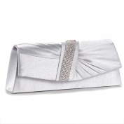 SATIN DIAMANTE PLEATED CLUTCH EVENING BAG WEDDING PROM PARTY BRIDAL PURSE