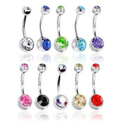 JY Jewellery 10 PCS 316L Surgical Steel Double Gem Belly Button Ring Body Jewellery Piercing Ring PB56