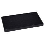 72 Slot Black Jewellery Travel Ring Insert Display Pad with Stackable Tray