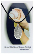 Boy's St. Christopher Baseball Medal with Leather Chain with Prayer Card