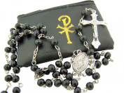 """Catholic Boys First Communion Gift 6MM Black Wood Bead Silver Plate Miraculous Mary Medal Centre 20"""" Rosary Necklace with Gold Chi Rho Cross Design Black Vinyl Zipper Case"""