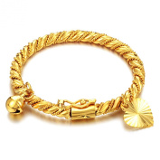 Opk Jewellery Fashion 18k Gold Plated Children's Bangle Birthday Gift Roll Rope Pattern with Heart and Bell Pendant Cuff Bracelets 11cm Perimeter