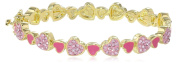Molly Glitz Girls' 14K Gold Plated Crystal Hearts Cut Out Bangle Bracelet