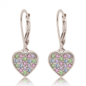 Kids Earrings - Sterling Silver 14k Gold Plated Mixed Coloured Crystal Heart Leverback Children's Earrings Made With. Elements kids, children, girls, baby