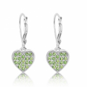 Kids Earrings - Sterling Silver 14k Gold Plated Classic Peridot Heart Secure Leverback Earrings for Kids - Made With. Elements Children,Baby, Girls