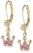 Molly Glitz Girls' 14K Gold Plated Crystal Crown Dangle Leverback Earrings