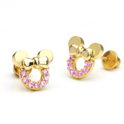 14k Gold Plated Pink Minnie Mouse Children Screwback Earring With 925 Silver Post Baby, Toddler, Kids & Children