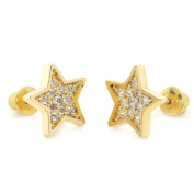 14k Gold Plated Baby Star Pave Children Screwback Earring With 925 Silver Post Baby, Toddler, Kids & Children