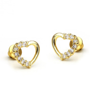 14k Gold Plated Cubic Open Heart Children Screwback Earring With 925 Silver Post Baby, Toddler, Kids & Children