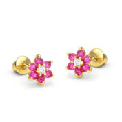 14k Gold Plated Baby Ruby Flower Children Screwback Earring With 925 Silver Post Baby, Toddler, Kids & Children