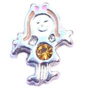 Silver Girl Birthstone November Floating Locket Charm