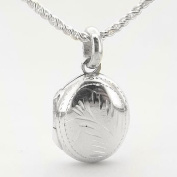 Small Childs Oval Classy Sterling Silver Locket Pendant