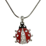 Adorable Little Silver Tone Ladybug Charm Necklace with Crystal Accents for Girls Teens and Women