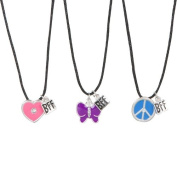 Heirloom Finds BFF Best Friends Butterfly Peace Sign Heart 3 Necklace Set with Black Cords