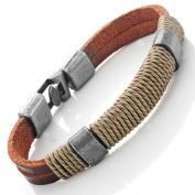 Dark Brown Leather Wound-around Nature Thread Bracelet for Him and Her, Unisex, 100% Genuine Leather, 20cm