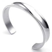 KONOV Jewellery Mens Womens Stainless Steel Bracelet, Cuff Bang, Silver