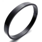 KONOV Jewellery Polished Stainless Steel Bangle Cuff Bracelet, Unisex Mens Womens, Colour Black