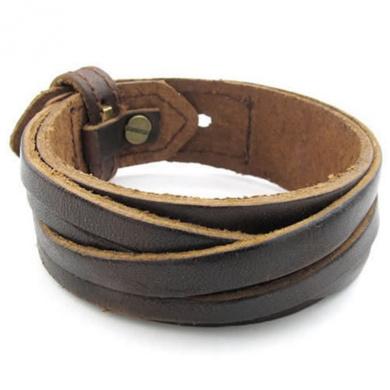 KONOV Jewellery Mens Leather Bracelet, Wrap Cuff Bangle, Fit 18cm - 20cm , Brown