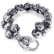 KONOV Jewellery Stainless Steel Gothic Skull Biker Men's Bracelet