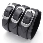 KONOV Jewellery Wide Genuine Black Leather Mens Bangle Cuff Bracelet