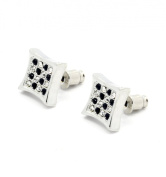 Men's Iced Out Kite Silver Plated Black Chekered Crystal Cz Hip Hop Micro Pave Bling Stud Earrings