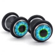 KONOV Jewellery Mens Stainless Steel Evil Eye Stud Earrings, Blue Black