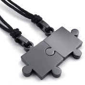 KONOV Jewellery 2pcs Mens & Womens Couples Stainless Steel Puzzle Pendant Love Necklace Set, Black
