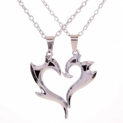Yazilind 2pcs Mens Womens Puzzle Stainless Steel Love Pendant Couple Necklace Gift 43cm