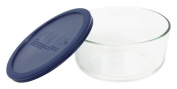 Pyrex Storage Round Dish with Dark Blue Plastic Cover, Clear