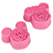 . 1Set(2Pcs)-Cute Mickey/ Minnie Mouse Decorating Cookie Cutter-Pink