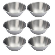 SET OF 6 - 17cm Wide Stainless Steel Flat Rim Flat Base Mixing Bowl