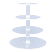 4-Tier Stacked Party Cupcake and Dessert Tower - Clear Acrylic Cake Stand