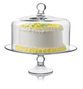 Libbey 2 Piece Selene Cake Dome Set, Clear, Clear