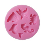 Yunko Dolphins Crab Starfish Hippocampus Mini Mould Silicone Chocolate Fondant Candy Mould DIY Cake Decorating