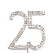 Cosmos ® Rhinestone Crystal Silver Number 25 Birthday 25th Anniversary Cake Topper