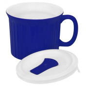 CorningWare French White Pop-Ins Mug with Vented Plastic Cover, 590ml, Blueberry