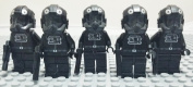 Set Of 5 Pieces Star Wars Tie Interceptor Fighter Pilot Troopers Black Minifigures Minifig With Blasters Building Block Brick Character Toys