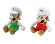 Set of 2 Sanei Super Mario Bros 20cm Fire Mario & Luigi Stuffed Plush