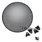 30cm Steel Speaker Subwoofer Sub Woofer Waffle Mesh Grill Cover w/ Clips & Screws