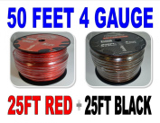 4 Gauge 7.6m BLACK and 7.6m RED Car Audio Power Ground Wire Cable 15m Total
