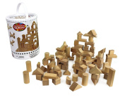 Wooden Blocks - 100 Pc Wood Building Block Set with Carrying Bag and Container (Natural Coloured) - 100% Real Wood
