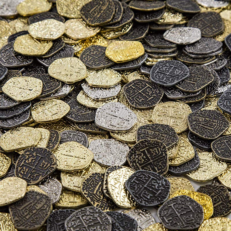 Pirate Treasure Coins - 30 Gold and Silver Doubloon Replicas