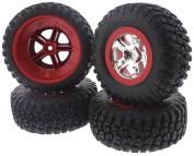Traxxas 1/10 Slash 4x4 Platinum tyres WHEELS RED S1 BF Goodrich Mud-Terrain 12mm