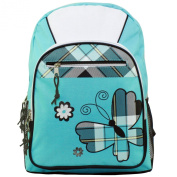 43cm Turquoise Plaid Butterfly Student Bookbag Backpack