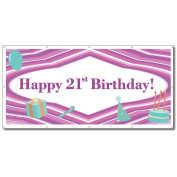Happy 21st Birthday Purple Lines and Teal Icons 1.2mx2.4m Vinyl Banner