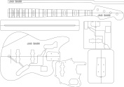 Electric Guitar Routing Template - Jag Bass