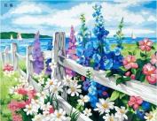 Diy oil painting, paint by number kit- Sea of flowers 16*50cm .