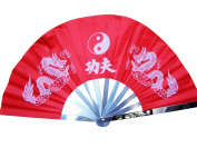 NuoYa001 Training Martial Arts Performanc Frame KungFu Chinese Tai Chi Fan 33cm Stainless red